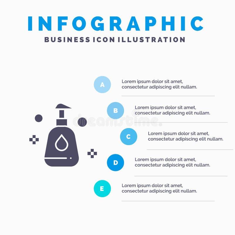 Het schoonmaken, Nevel, Schoon Stevig Pictogram Infographics 5 de Achtergrond van de Stappenpresentatie royalty-vrije illustratie