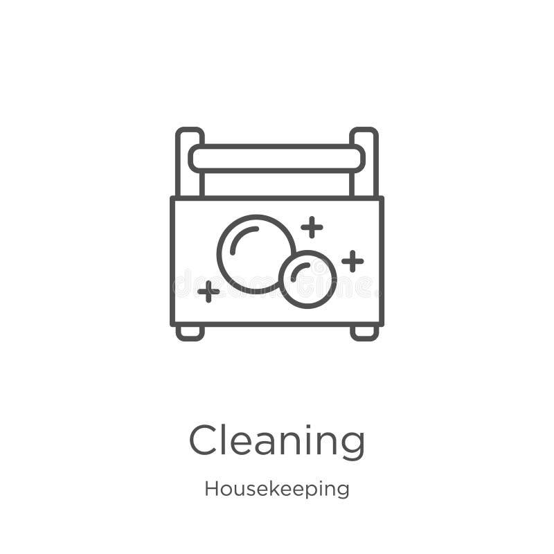 het schoonmaken pictogramvector van huishoudeninzameling Dunne het pictogram vectorillustratie van het lijn schoonmakende overzic royalty-vrije illustratie