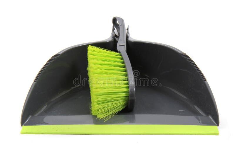 Het schoonmaken reeks van stofpan en borstel stock afbeelding