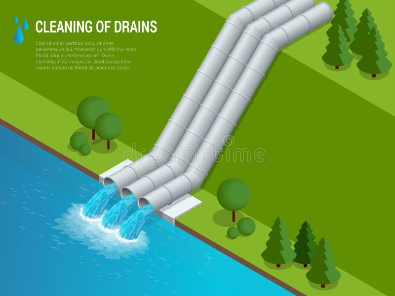 Het schoonmaken van afvoerkanalen het Schoonmaken van afvoerkanalenlossing van vloeibaar chemisch afval royalty-vrije illustratie
