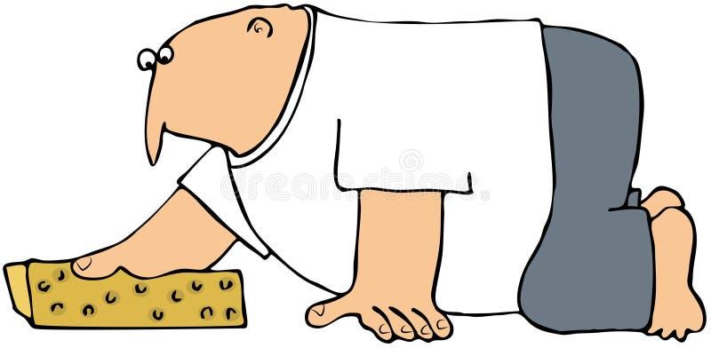 Het schoonmaken van de Vloer met een Spons stock illustratie