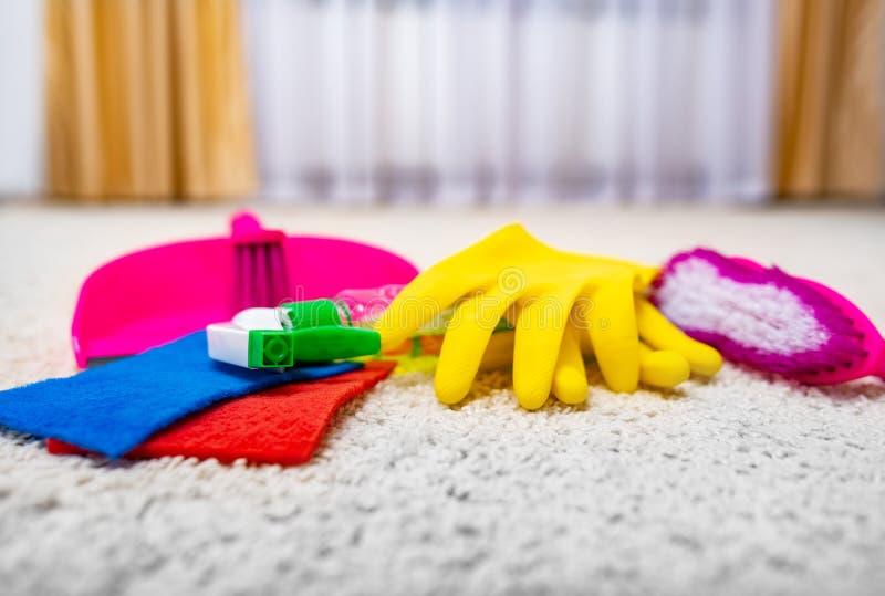 Het schoonmaken van en het wassen van het tapijt royalty-vrije stock afbeelding