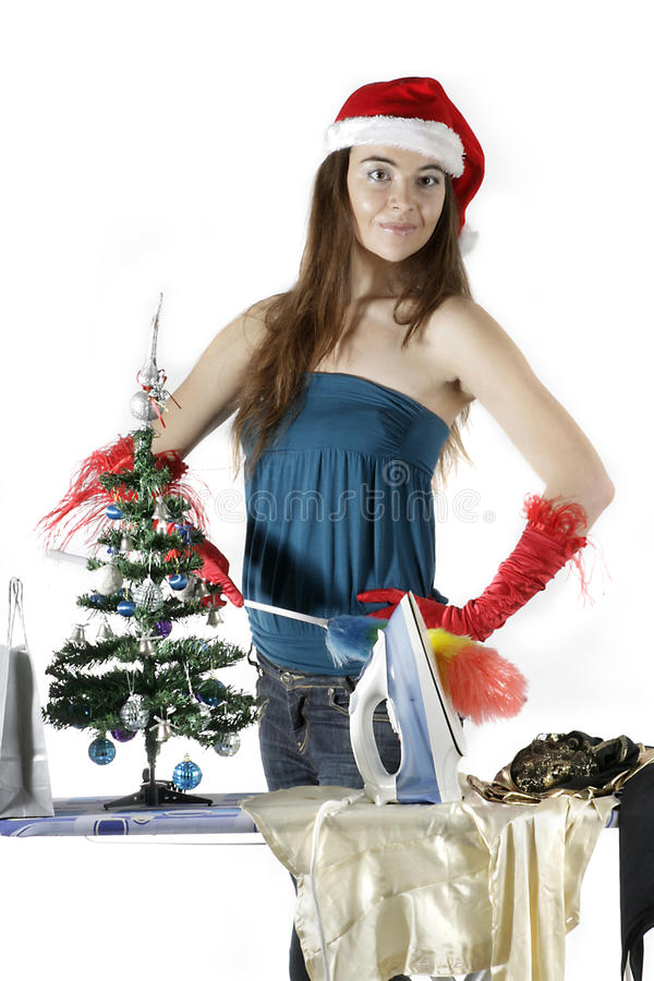 Het schoonmaken van het Meisje van de kerstman stock foto's