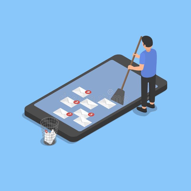 Het schoonmaken van smartphone van spam stock afbeelding