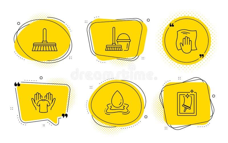 Het schoonmaken zwabber, Waterplons en Wassende geplaatste doekpictogrammen Vector stock illustratie