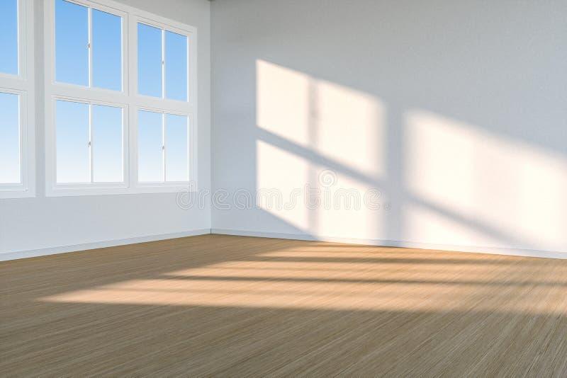 Het schoonmakende huis en de zonneschijn van het venster, het 3d teruggeven royalty-vrije illustratie