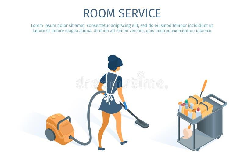 Het het Schoonmakende Karretje en Meisje van het bediening op de kamerconcept vector illustratie