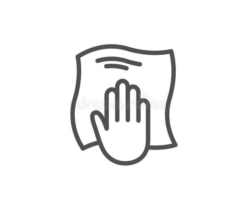 Het schoonmakende pictogram van de doeklijn Veeg met een vod af royalty-vrije illustratie