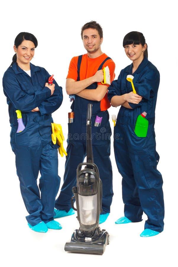 Het schoonmakende team van de dienstarbeiders royalty-vrije stock afbeelding