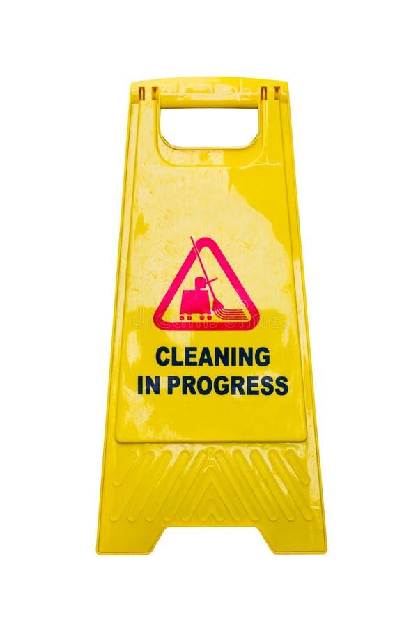 Het schoonmakende teken van de vooruitgangsvoorzichtigheid op witte achtergrond stock afbeeldingen