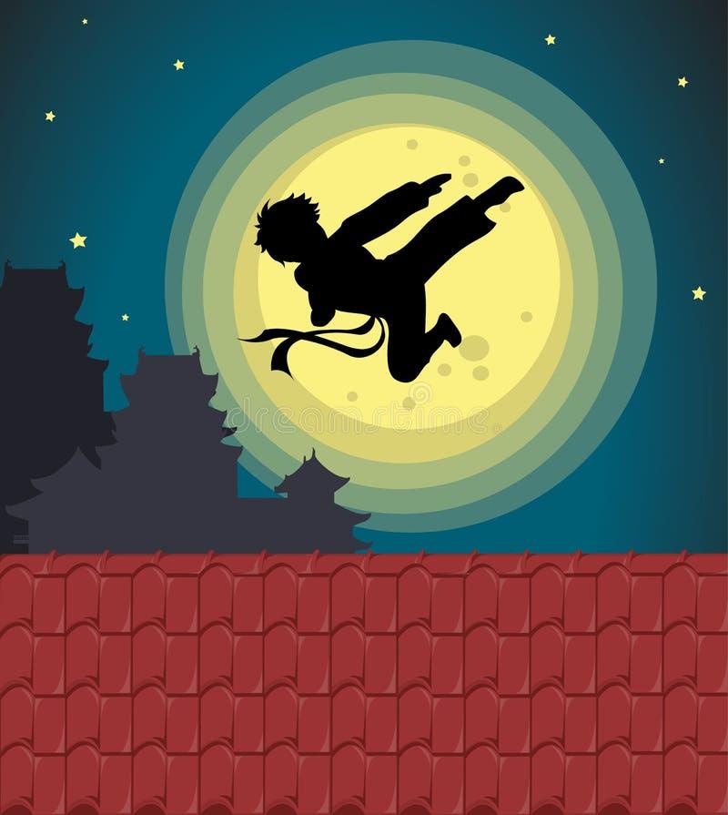 Het schoppen in het maanlicht royalty-vrije illustratie