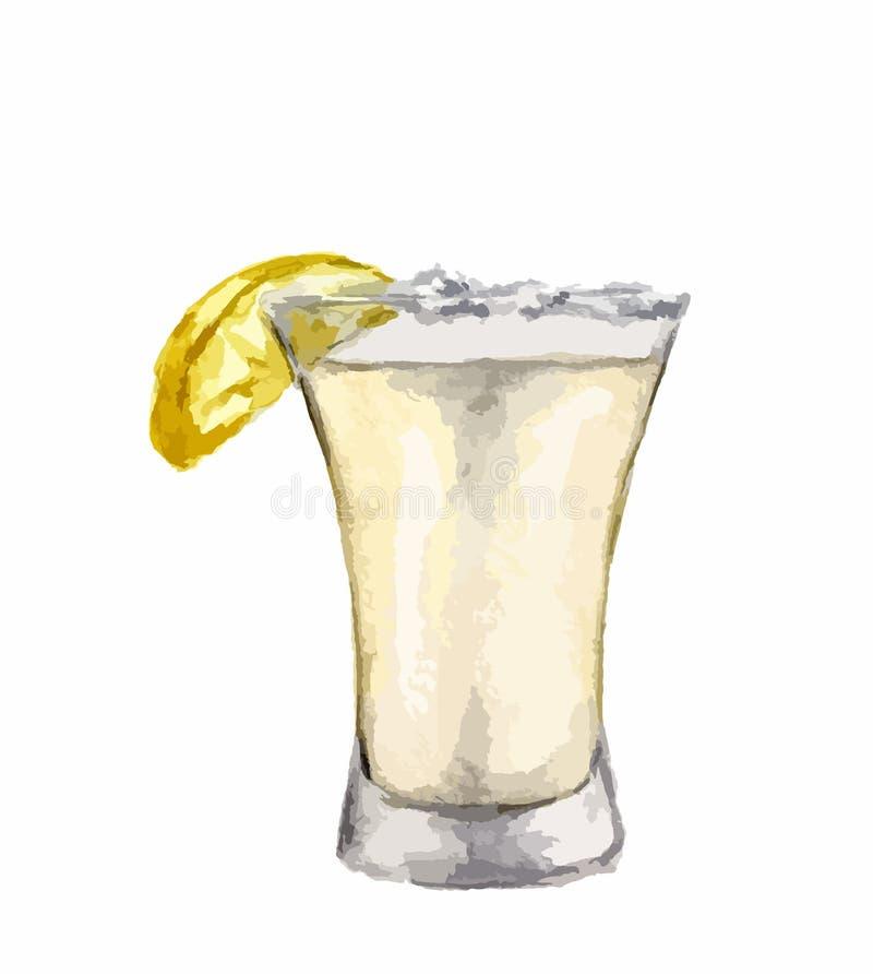 Het schot van waterverftequila royalty-vrije illustratie