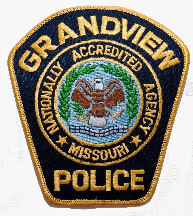 Het schouderflard van de Grandview-Politieafdeling in Missouri stock afbeeldingen