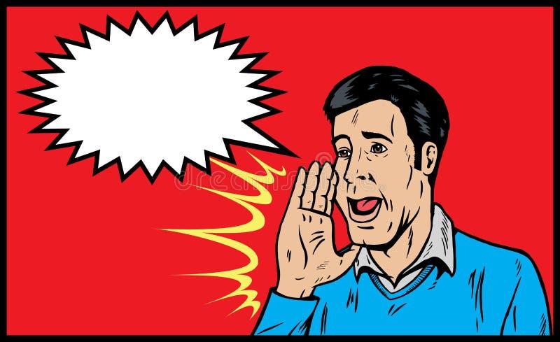 Het schreeuwen van de mens vector illustratie