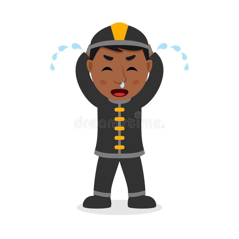 Het schreeuwende Zwarte Karakter van het Brandweermanbeeldverhaal vector illustratie