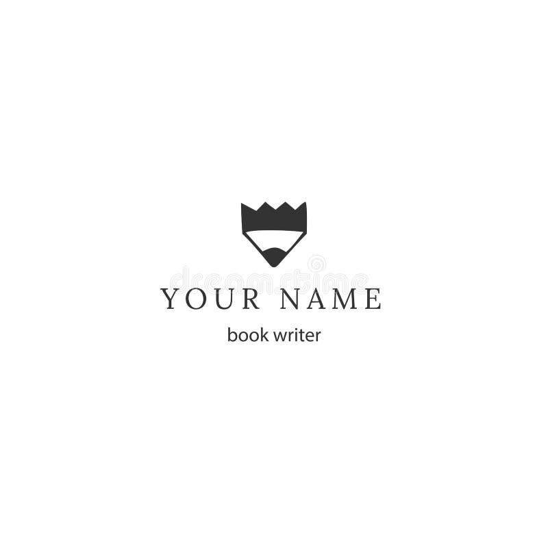 Het schrijven, auteursrecht en het publiceren thema Vectorhand getrokken embleemmalplaatje, een potlooduiteinde met een kroon stock illustratie