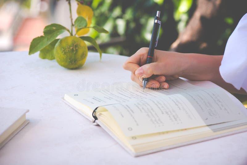 Het schrijven in Dagboek in de ochtend royalty-vrije stock foto's