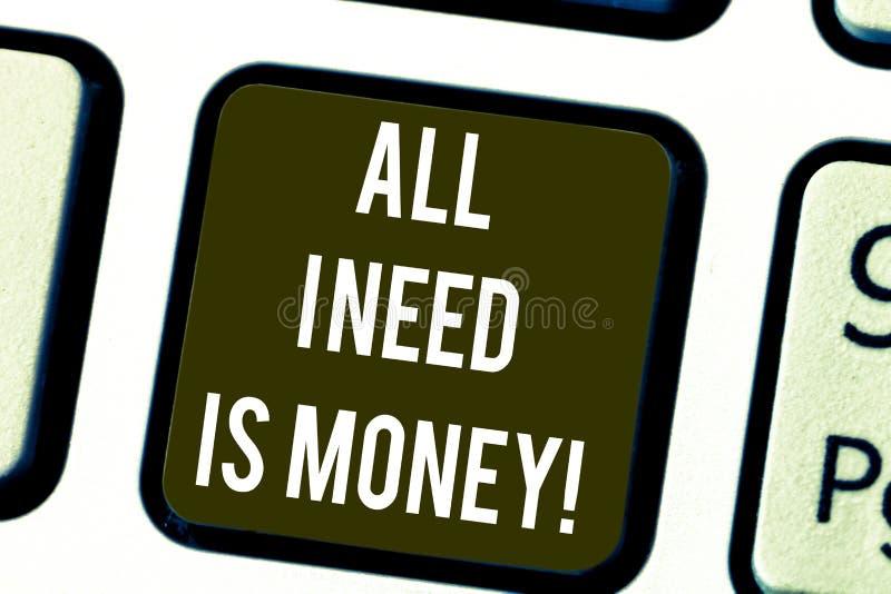 Het schrijven de nota die Al I-Behoefte tonen is Geld Bedrijfsfoto die Financieel die problemencontant geld demonstreren wordt ve stock illustratie