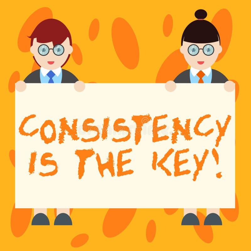 Het schrijven de nota die Consistentie tonen is de Sleutel De bedrijfsfoto die volledige Toewijding demonstreren aan een Taak gew royalty-vrije illustratie