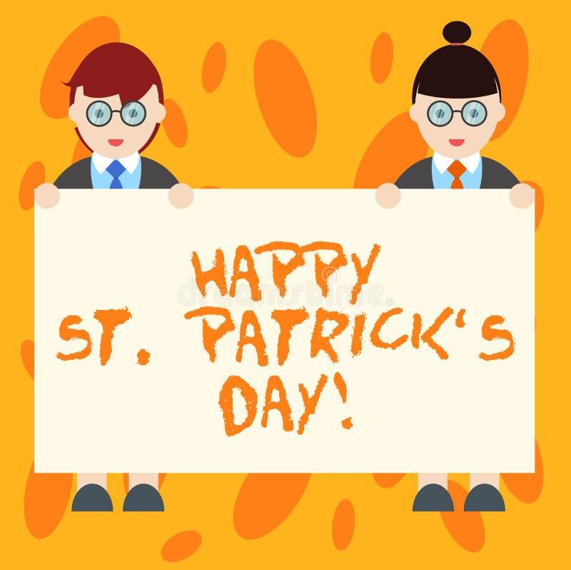 Het schrijven de nota die Gelukkige St Patrick S tonen is Dag Bedrijfsfoto die van de vierings groen gelukkig charmes en klavers  vector illustratie