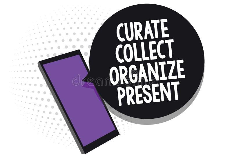 Het schrijven de nota die Kapelaan tonen verzamelt organiseert Heden Bedrijfsfoto die Terugtrekt Organisatie Curation die Cel voo royalty-vrije illustratie