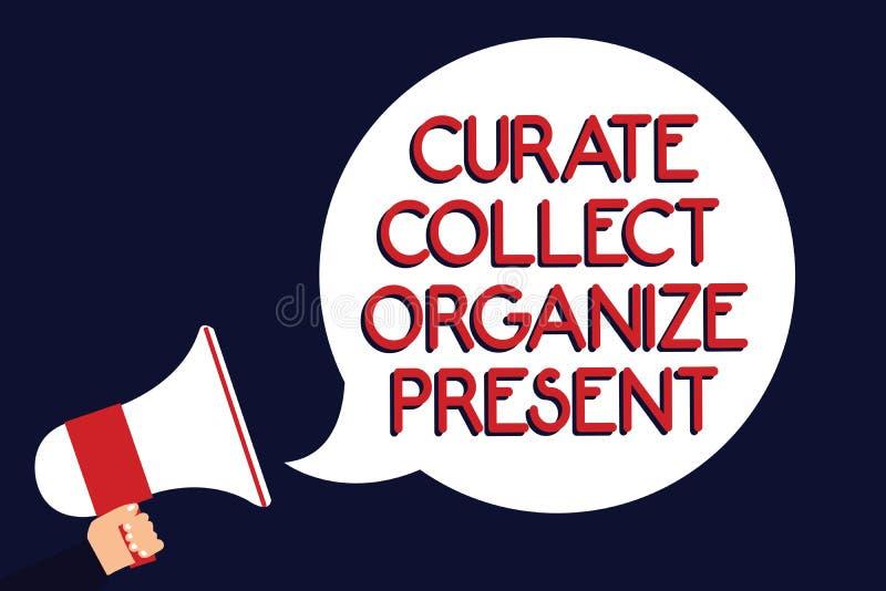 Het schrijven de nota die Kapelaan tonen verzamelt organiseert Heden Bedrijfsfoto die Terugtrekt Organisatie Curation die Manuren stock illustratie
