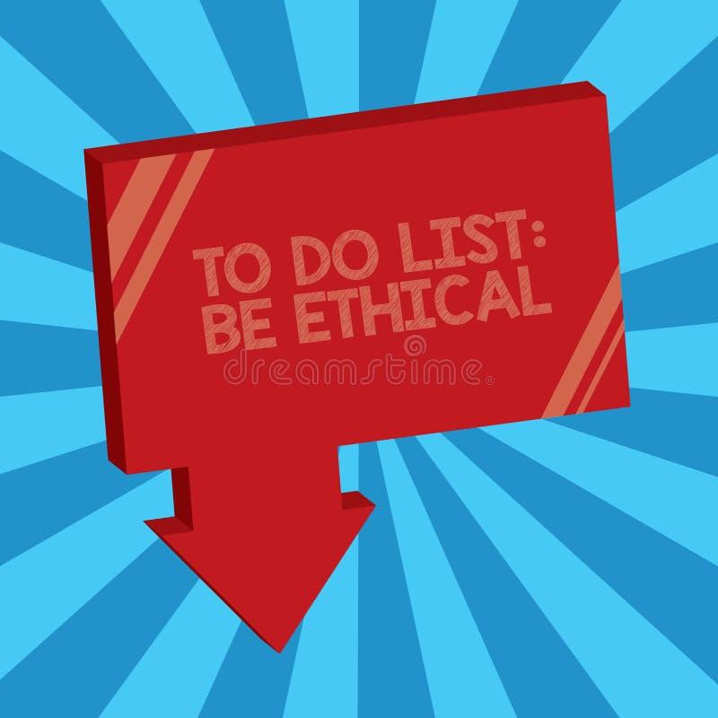 Het schrijven de nota die Lijst tonen te doen Ethisch is De bedrijfsfoto demonstratie plant of herinnering die in een ethische cu royalty-vrije illustratie