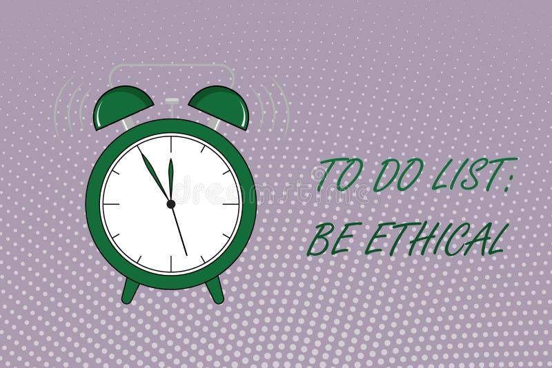 Het schrijven de nota die Lijst tonen te doen Ethisch is De bedrijfsfoto demonstratie plant of herinnering die in een ethische cu stock illustratie