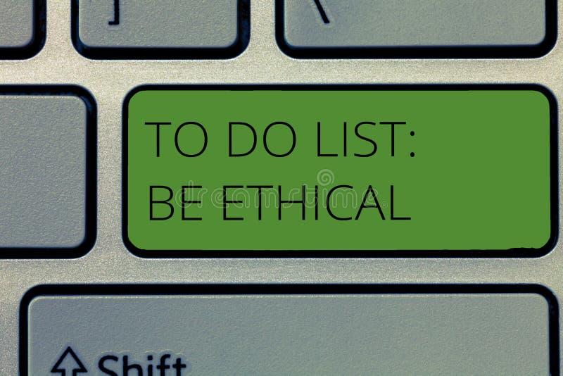 Het schrijven de nota die Lijst tonen te doen Ethisch is De bedrijfsfoto demonstratie plant of herinnering die in een ethische cu stock foto