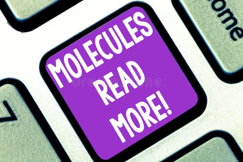 Het schrijven de nota die Molecules tonen las meer Bedrijfsfoto demonstratie kleinste hoeveelheid chemische mijt van het Atoomdee stock afbeelding