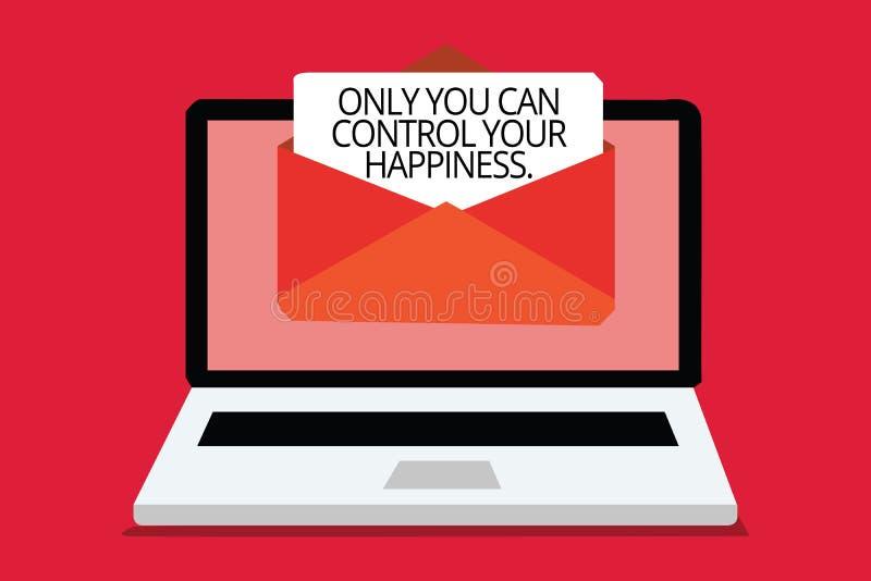 Het schrijven de nota die slechts u kan Uw Geluk controleren tonen Bedrijfsfoto die de Persoonlijke Computer van de zelf-Motivati stock fotografie