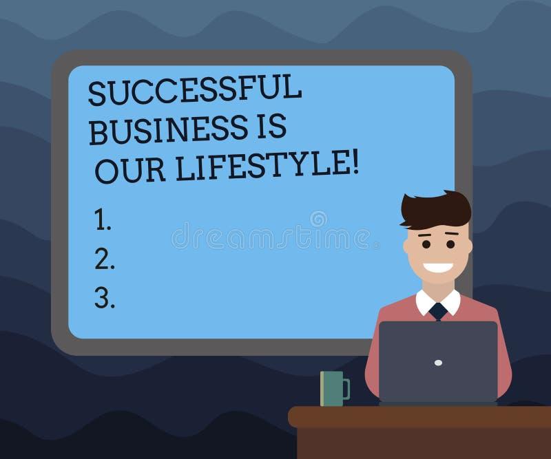 Het schrijven de nota die Succesvolle Zaken tonen is Onze Levensstijl Bedrijfsfoto demonstratie Gebruikt aan het werk in Gegrenst stock illustratie