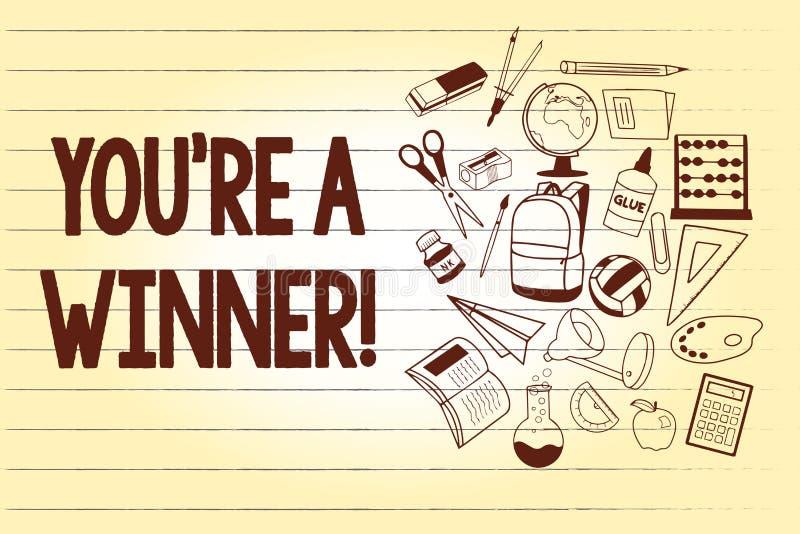 Het schrijven de nota die u tonen aangaande is een Winnaar Bedrijfsfoto demonstratie het Winnen als 1st plaats of kampioen in de  vector illustratie