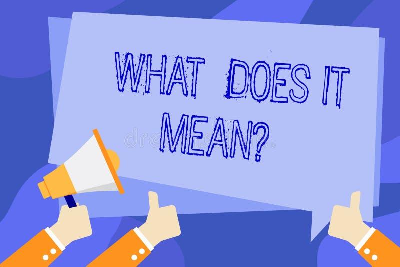Het schrijven de nota die wat tonen het doet betekent Vraag Bedrijfsfoto demonstratie het vragen betekenend iets zei en niet royalty-vrije illustratie