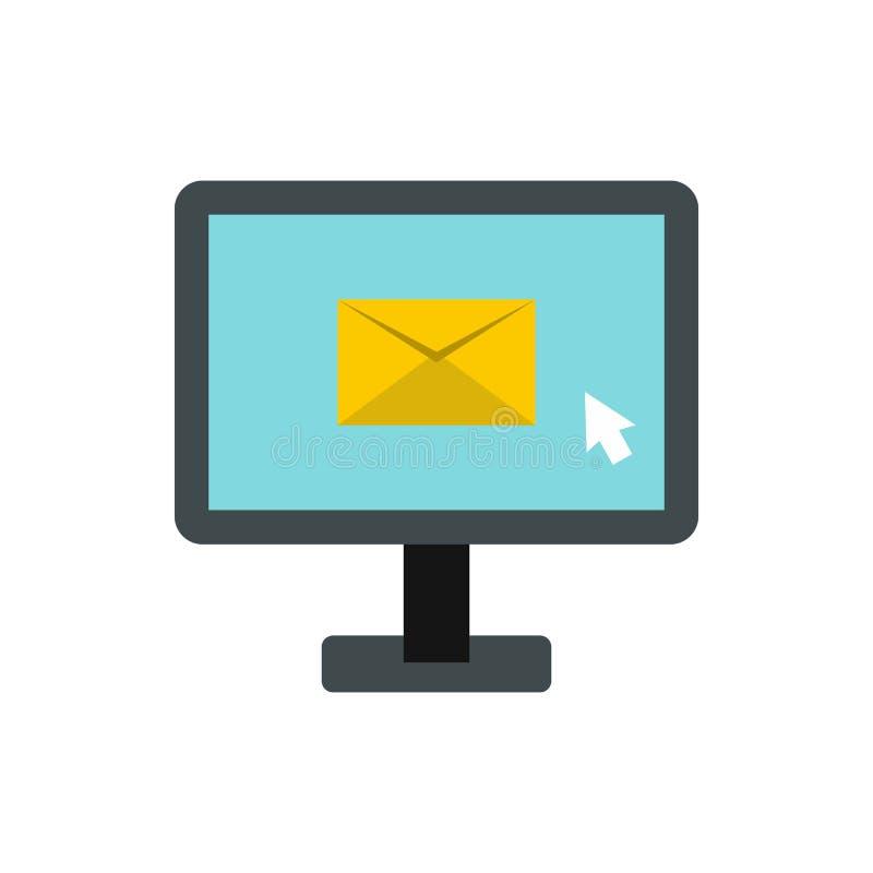 Het schrijven e-mail op computerpictogram, vlakke stijl vector illustratie