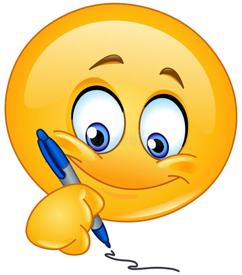 Het schrijven emoticon stock illustratie