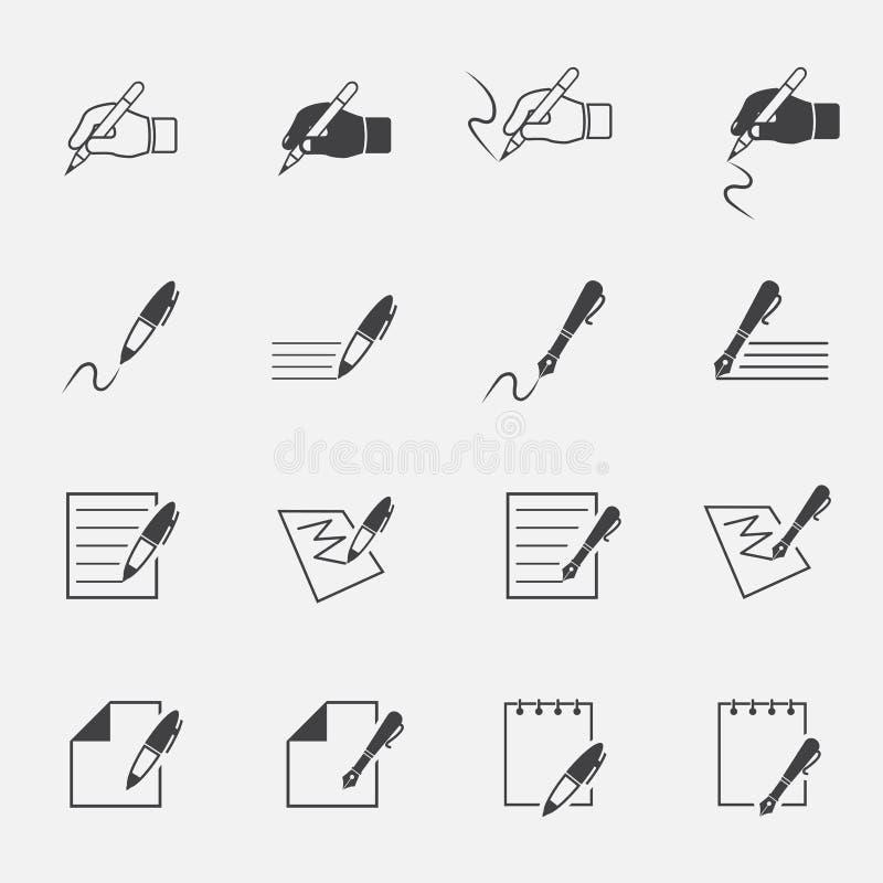 Het schrijven en documentpictogram stock illustratie
