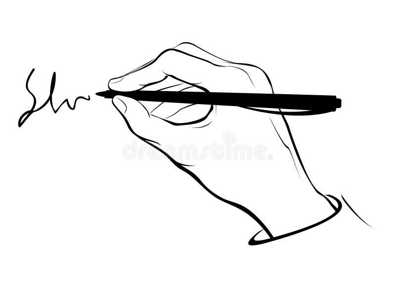 Het schrijven handoverzicht stock illustratie