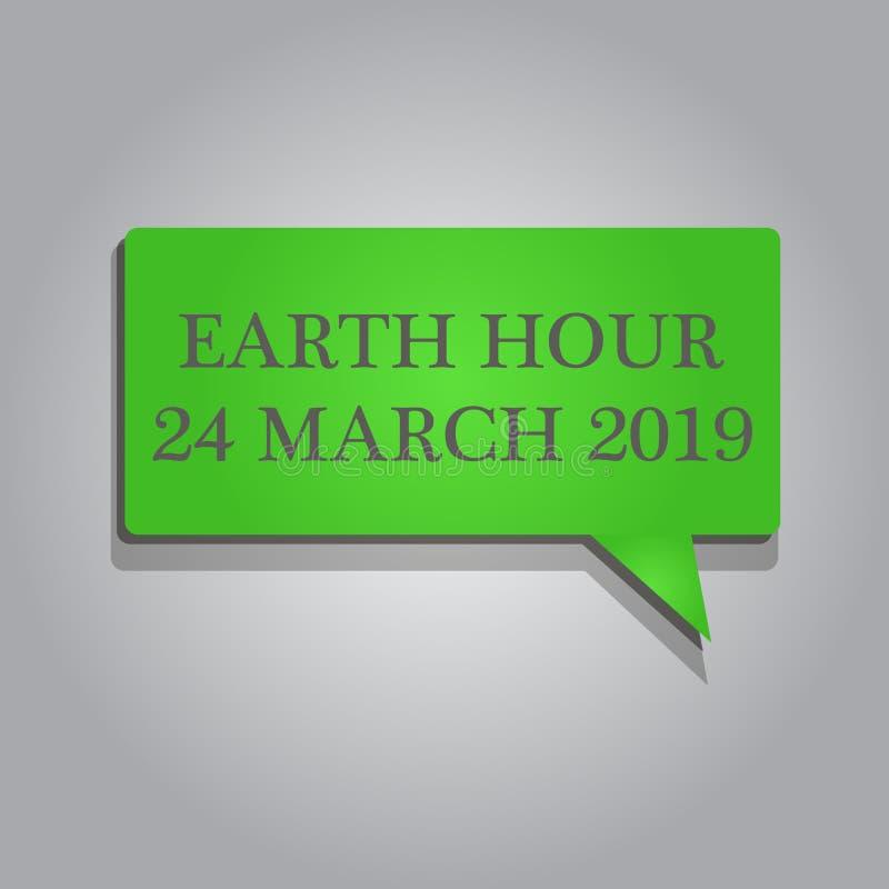 Het schrijven nota die Aardeuur 24 Maart 2019 tonen De bedrijfsfoto demonstratie viert Duurzaamheid sparen de Planeetlichten vector illustratie