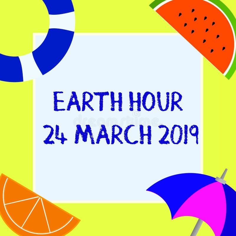 Het schrijven nota die Aardeuur 24 Maart 2019 tonen De bedrijfsfoto demonstratie viert Duurzaamheid sparen de Planeetlichten royalty-vrije illustratie