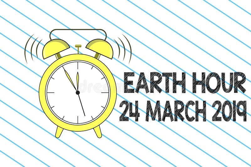 Het schrijven nota die Aardeuur 24 Maart 2019 tonen De bedrijfsfoto demonstratie viert Duurzaamheid weg sparen de Planeetlichten vector illustratie