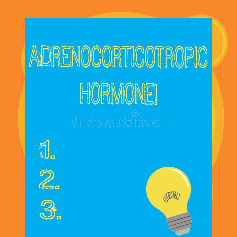 Het schrijven nota die Adrenocorticotropic Hormoon tonen Bedrijfsdiefoto demonstratiehormoon door slijmachtige klierschors wordt  royalty-vrije illustratie