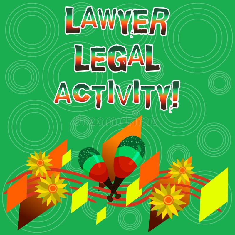 Het schrijven nota die Advocaat Legal Activity tonen De bedrijfsfoto demonstratie bereidt gevallen voor en geeft advies over wett stock illustratie