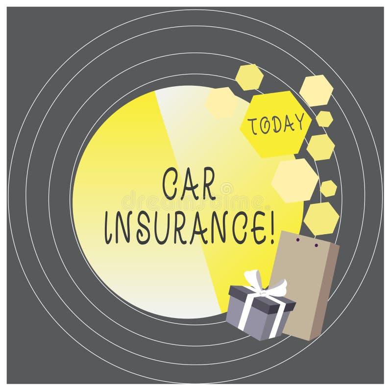 Het schrijven nota die Autoverzekering tonen Bedrijfsfoto demonstratiebescherming tegen financieel verlies in het geval van stock illustratie