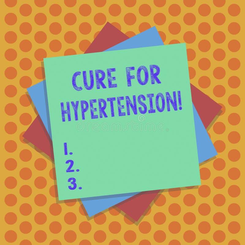 Het schrijven nota die Behandeling voor Hypertensie tonen Bedrijfsfoto die Ertoe brengend behandeling om de bloeddruk te verminde royalty-vrije illustratie