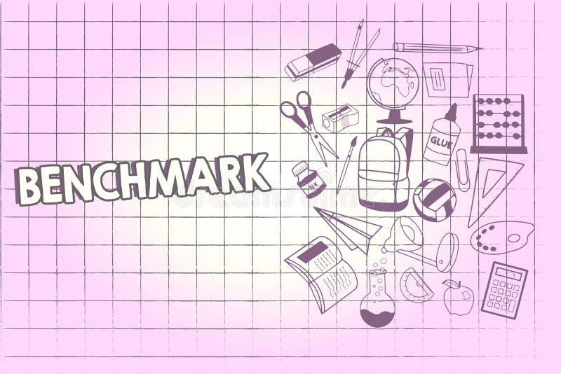 Het schrijven nota die Benchmark tonen Bedrijfsfoto demonstratienorm of referentiepunt waartegen de dingen School vergeleken vector illustratie