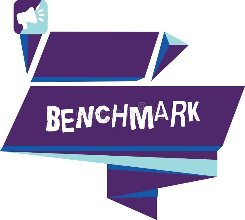 Het schrijven nota die Benchmark tonen Bedrijfsfoto demonstratienorm of referentiepunt waartegen de dingen vergeleken stock illustratie