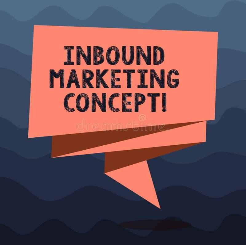Het schrijven nota die Binnenkomend Marketing Concept tonen De bedrijfsfoto demonstratiestrategie die zich bij het aantrekken van royalty-vrije illustratie