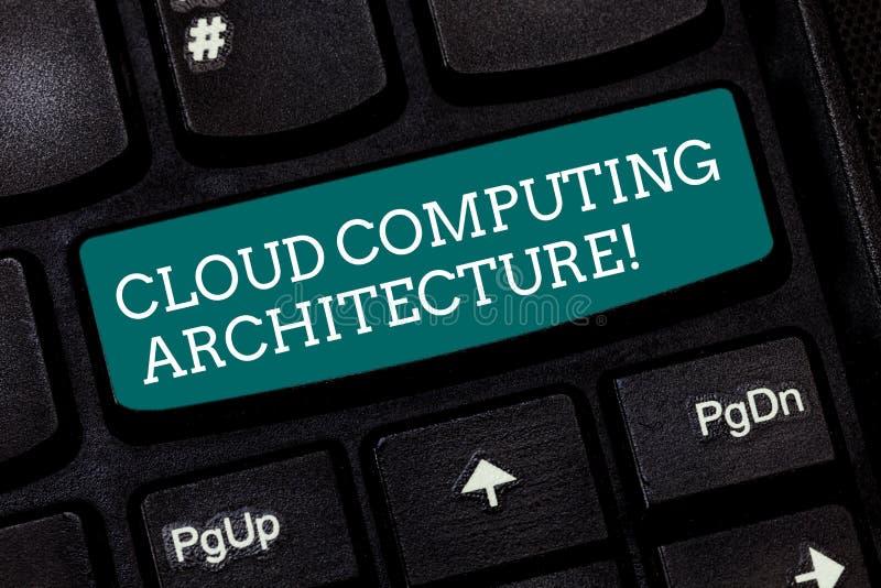 Het schrijven nota die Cloud Computing-Architectuur tonen Bedrijfsfoto demonstratiecomponenten en het verband tussen royalty-vrije stock afbeelding