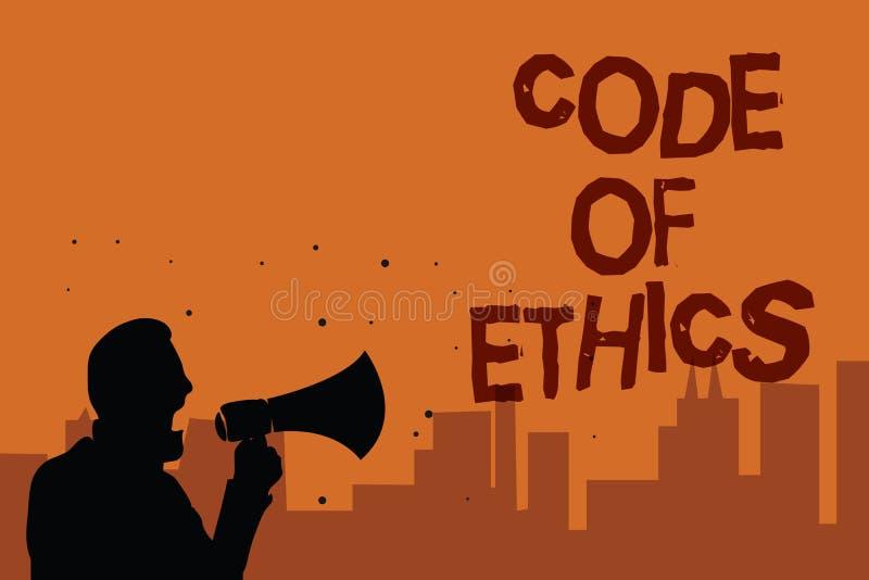 Het schrijven nota die Code van Ethiek tonen Bedrijfsfoto die Morele van de de Eerlijkheids Goede procedure van de Regels Ethisch vector illustratie